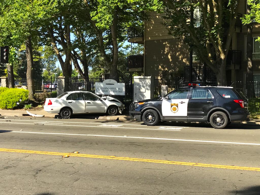 Solo-vehicle crash