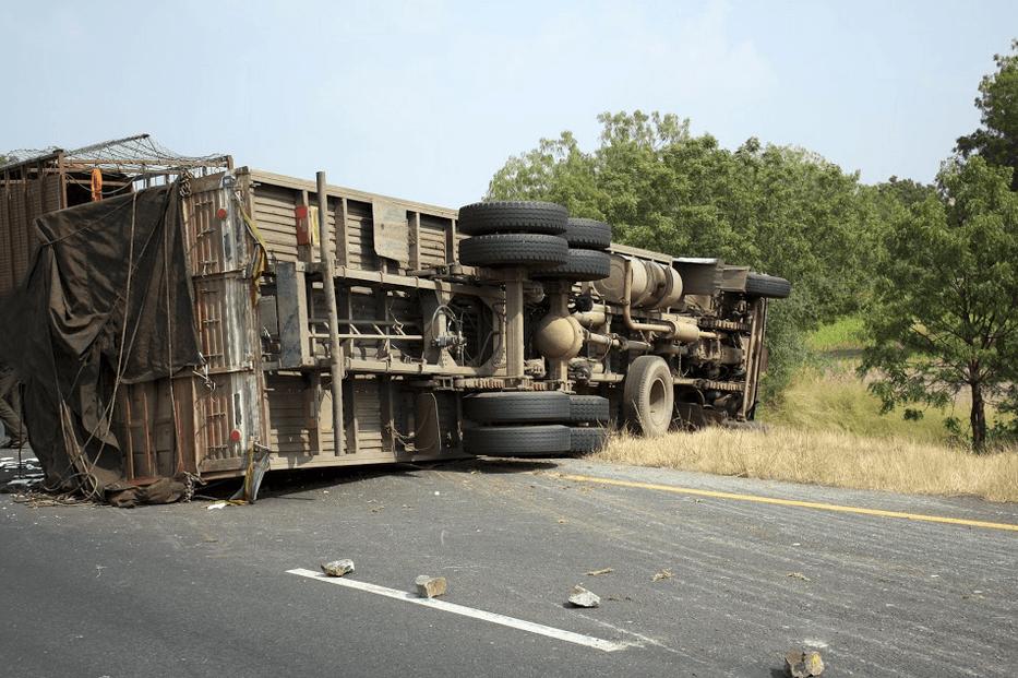 Tractor-Trailer Overturns in Fairfield