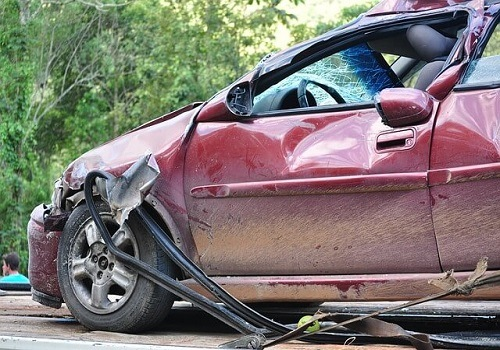 Traffic Collision Between Two Vehicles Traps Driver