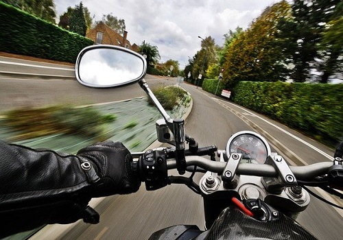 motorcycle on road before accident with major injuries