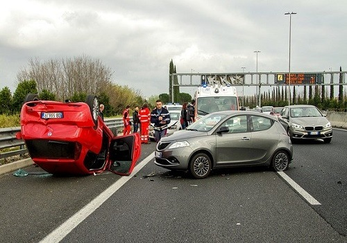 two-vehicle crash on road