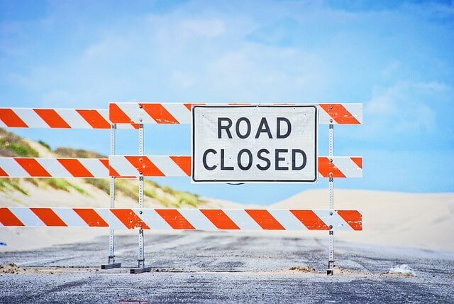road closed sign Highway 99